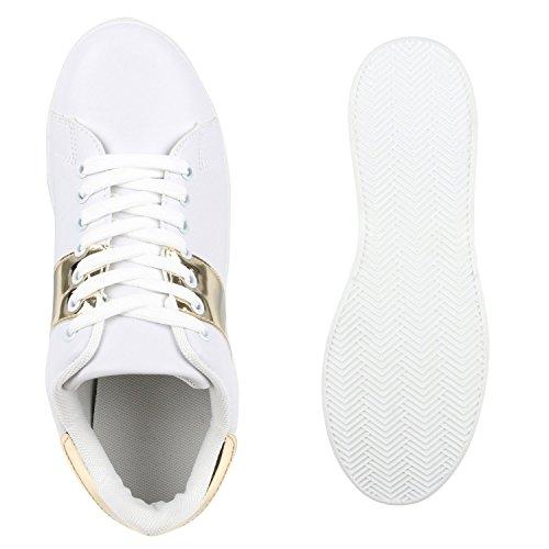 Sportliche Damen Sneakers Skater Schuhe Lack Metallic Schnürer Weiss Gold