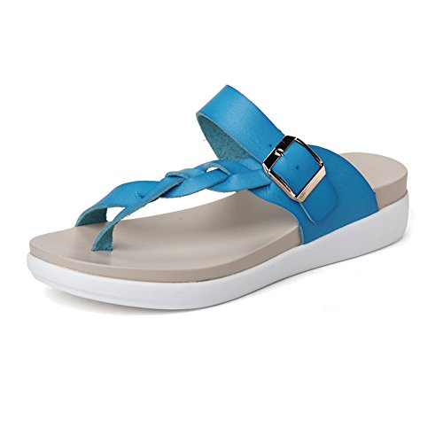NiNE CiF Mädchen Damen Zehentrenner Strick Flip Flops Sommer Hausschuhe Blau