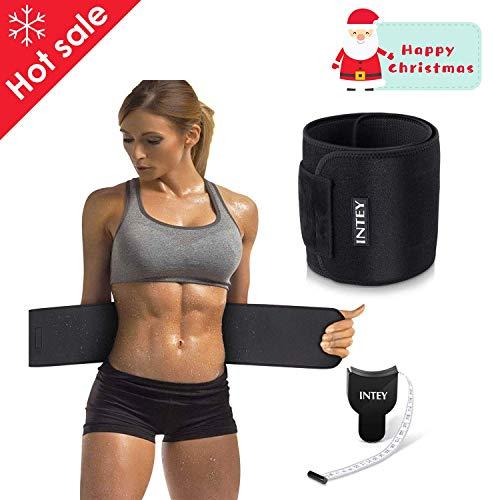 INTEY Bauchweggürtel Schwitzgürtel Neopren Fitnessgürtel mit Maßband zum Abnehmen und Muskelaufbau für Herren und Damen, Schwarz