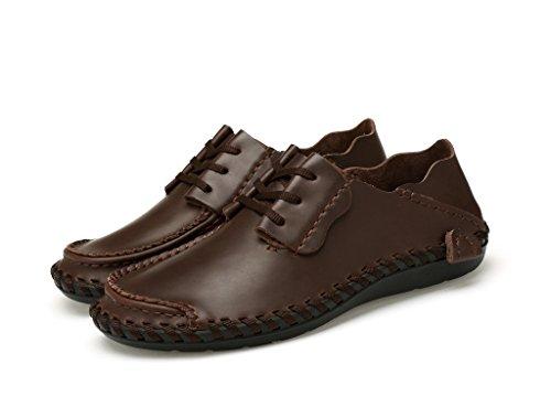 JACKSHIBO Erwachsene Leder Schnürhalbschuhe herren Klassiker Oxfords Sneaker Dunkelbraun