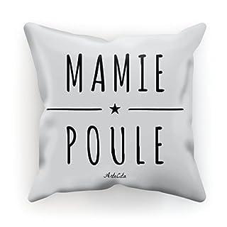 Kissen bedruckt aus Baumwolle mit Füllung–30x 30cm oder 45x 45cm–Mamie Henne, Baumwolle, weiß, 30x30cm