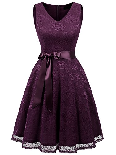 IVNIS RS90025 Damen Ärmellos Vintage Spitzen Abendkleider Cocktail Party Floral Kleid Grape 3XL