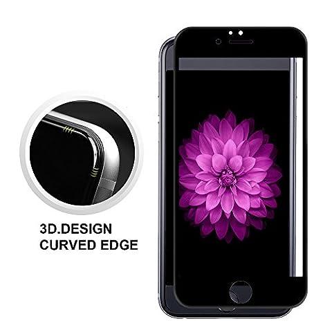 iPhone 6/6s Film de Protection d' Écran 3D Incurvé en Verre Trempé,Conception de couleur primaire,fonction 3D Touch - [Dureté 9H][Ultra HD ][Incassable][Courbé]pour iPhone 6/6s-4.7