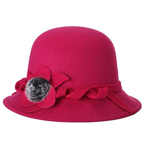 MEICHEN-Hat signora cappelli di lana per l'autunno/inverno caldo freddo hat moda cappelli Cappelli di moda un colore solido,rosa rosso,57cm