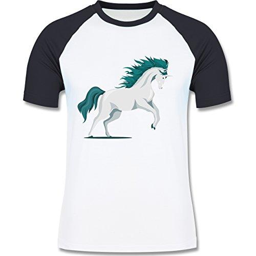 Pferde - steigendes Einhorn - zweifarbiges Baseballshirt für Männer Weiß/Navy Blau