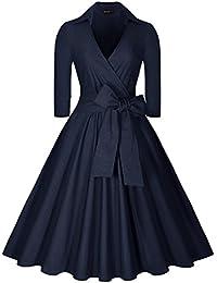 Miusol® Damen Elegant Abendkleid Retro Cocktailkleid 3/4 Ärmel V-Ausschnitt 40er 50er Jahr Rockabilly Party Kleid Schwarz EU 36-48