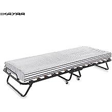 IKAYAA C228 - Cama Plegable Completo Individual (Colchón + Ruedas 360°+ Somier Metal y Madera) para Dormitorio Oficina Jardín Casa