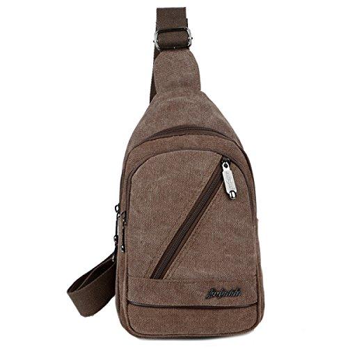 BULAGE Taschen Männer Brusttaschen Lässig Leinwand Schulter Retro Reist Arbeit Einkaufen Multifunktionale Outdoor Sport Brown