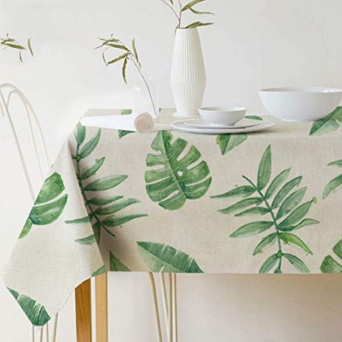 GWELL Grüne Pflanze Tischdecke Leinen Tischtuch Pflegeleichte Tischwäsche Tischläufer Eckig viele Größe Farbe wählbar 100×140cm Blatt-I
