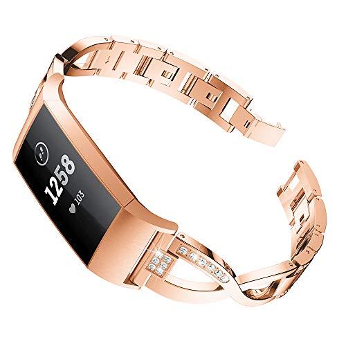 KWLET für Fitbit Charge 3 Armband Rosegold Damen Armband Fitbit Charge 3 Metall Fitbit Armband Charge 3 Edelstahl Ersatzarmband Uhrenarmband Fitbit Charge3 Frauen Armbänder (3 Bands Hochzeit Sets Für Die Frau)