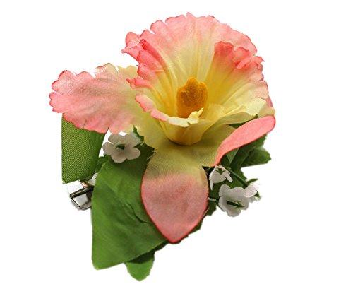 Fiesta-de-Hawaii-Luau-Tela-Artificial-Orqudea-simple-Pinzas-de-cabello-Rosa-melocotn