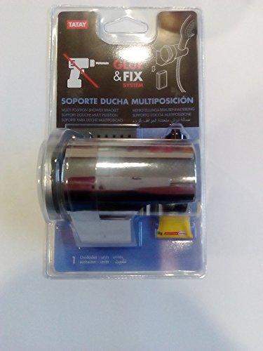TATAY 3360809 - Glue&Fix Soporte de Ducha regulable multiposición, fijación sin tornillos,...