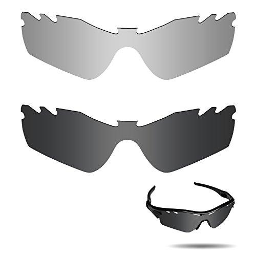 Fiskr Anti-Saltwater Polarisierte Ersatz Gläser für Oakley Radar Path Vented Sonnenbrille 2Paar Verpackt, Stealth Black & Metallic Silver