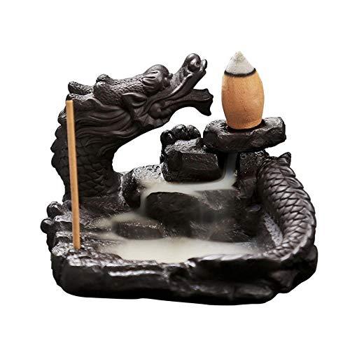 Redson Backflow Räucherstäbchenhalter, liegender Drache, Keramik, Home Tempel, Büro, Tee-Room Dekoration, 10 gratis Kegel - Drachen-halter