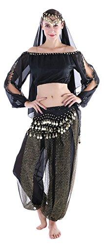 Arabische Kostüm Bauchtanz - Kostüm Damen Sexy Arabische Faschings Kostüm Bauchtanz Langärmeliges Oberteil Hüfttuch Schleier Schwarz