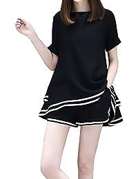 Adelina Donna Sportiva Shorts+Cotone Lino Due Pezzi Estive Elegante Manica  Corta Rotondo Collo Larghi Ragazza Abbigliamento Magliette E… d5d2ad8a6ce