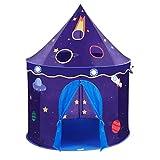 Gazechimp Tente à Intérieur Extérieur Jeu Château de l'espace Bleu foncé en Polyester Tissu Métal Jouet Maison Camping Jardin Cadeau Idéal pour Enfant Bébé
