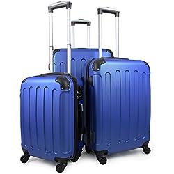 Leogreen - Set de Valises, Lot de Valises à Roulettes, Coins protégés, 51 61 71 cm, Bleu, ABS, Matériau: Plastique ABS, Poids: 3 kg (petit) 3,5 kg (moyen) 4,5 kg (large)