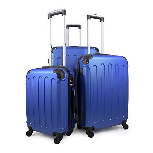 Leogreen - Set Di Valigie, Borse Trolley, Angoli protettivi, 51 61 71 cm, Blu, ABS, Materiale: Plastica ABS, Peso: 3 kg (piccoli) 3,5 kg (medio) 4,5 kg (grande)