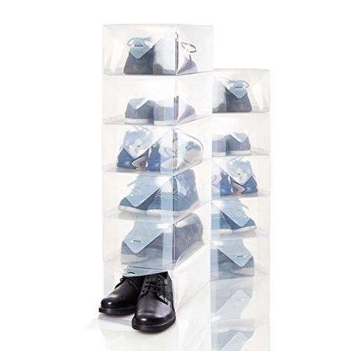 Lumaland 30er Set Herren Schuhbox Aufbewahrungsbox Organizer aus Kunststoff transparent stapelbar ca. 35 x 22 x 14 cm -