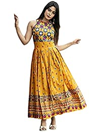 Lovace Rayon Anarkali Kurtis for Women and Girls Yellow