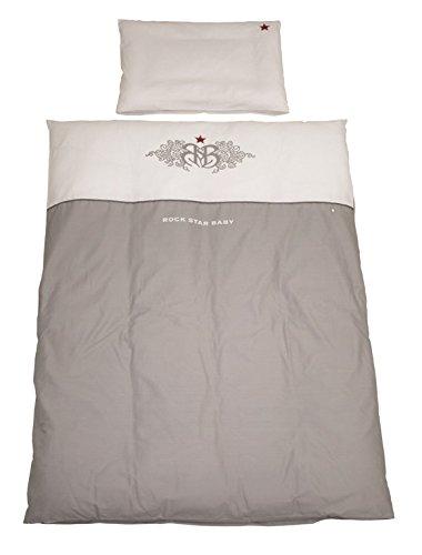 roba Bettwäsche 2-tlg, Kollektion 'Rock Star Baby', Kinderbettwäsche 100x135 cm, 100% Baumwolle, Decken-& Kissenbezug für Babys & Kinder mit aufwändiger Applikation