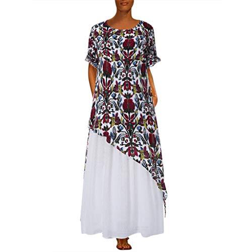AMhomely Donna Estate Lino Cotone Manica Corta Maglietta Tops Shirt Vestito