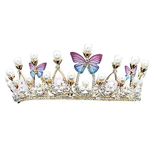 Crystal Tiara Geburtstag Schmetterling Form goldene Kinder Krone Hochzeit Prinzessin Silber Perle Strass Kronen Haarschmuck für Hochzeit Brautschmuck Geburtstag Weihnachten Dekoration - Kinder-goldenen Geburtstag