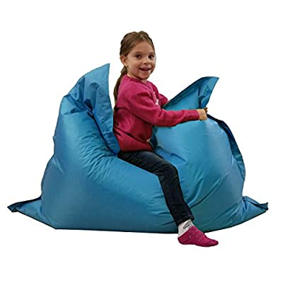 Kids BeanBag Large 6-Way Garden Lounger - GIANT Childrens Bean Bags Outdoor Floor Cushion TEAL AQUA BLUE - 100% Water Resistant