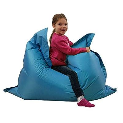 Kids BeanBag Large 6-Way Garden Lounger - GIANT Childrens Bean Bags Outdoor Floor Cushion TEAL AQUA BLUE - 100% Water Resistant