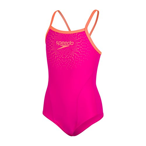 Speedo Mädchen Gala Logo Thinstrap Muscleback Badeanzug Electric Pink/Fluo Orange 32