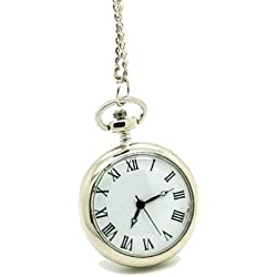 Vantasy Stainless Steel Traditional Roman Numerals Time Graduation Pocket Watch Pendant Size: 1.2X1.2X0.35