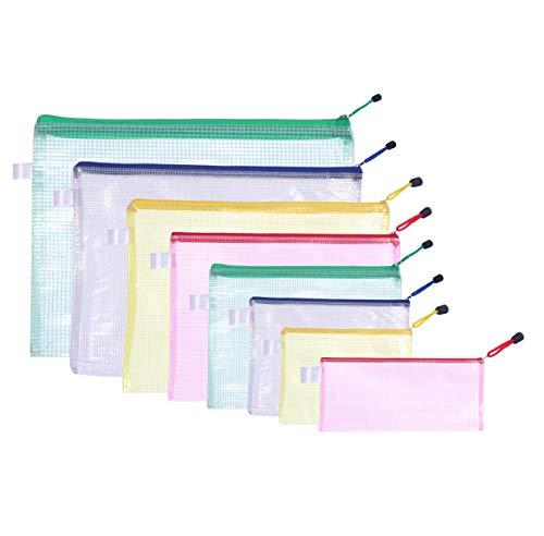 ZADAWERK® Dokumententasche mit Reißverschluss - 8 Formate - 8 Stück - A6, A5, A4, A3, Scheck, B6, B5, B4