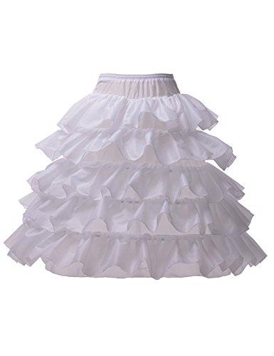 Alicepub Damen Reifrock 4 Ringe 6 Lagig Petticoat Voll Braut Unterrock Krinoline, Weiß, (Petticoat Krinoline Slip Kostüme)