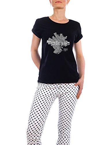 """Design T-Shirt Frauen Earth Positive """"Tokyo dark"""" - stylisches Shirt Abstrakt Städte Kartografie Reise Architektur von ShirtUrbanization Schwarz"""