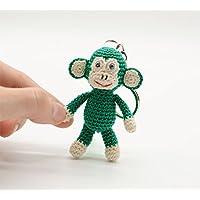 Llavero de mono verde, juguete de ganchillo relleno, regalos de peluche, pequeño regalo de cumpleaños