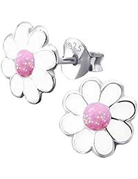 So Chic Bijoux © Boucles d oreilles Enfant Fleur Marguerite Pâquerette  Blanc   Rose Argent 22f01ffbc40