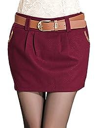 sourcingmap® Ladies Mid Rise Hidden Zip Fly Side Belt Loop Casual Skirt