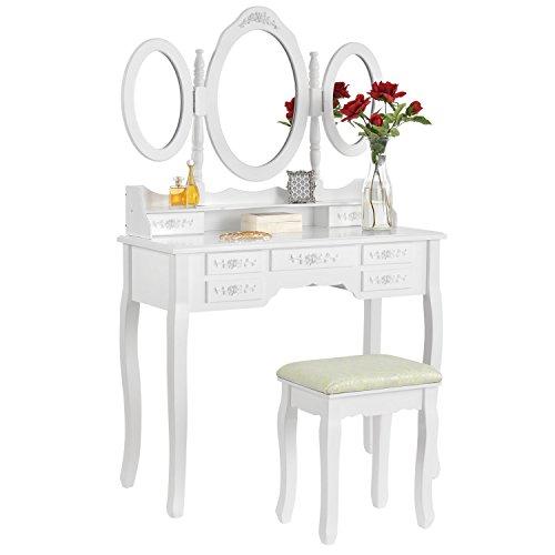 ArtLife Schminktisch ELSA weiß mit Spiegel, 7 Schubladen & Hocker 90x40x146 cm Landhausstil Frisiertisch Kosmetiktisch