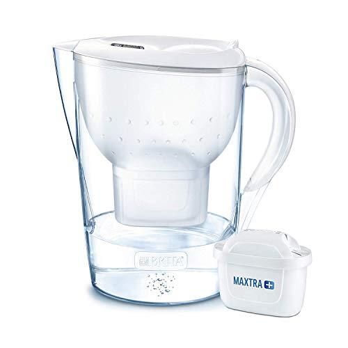BRITA Marella XL - Jarra de Agua Filtrada con 1 cartucho MAXTRA+ - Filtro de agua BRITA que reduce la cal y el cloro - Agua filtrada para un sabor excelente - Filtro de agua color blanco