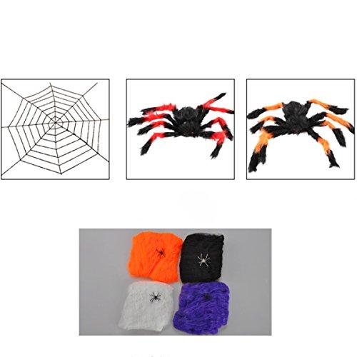 ANHPI Halloween Dekoration Simulation Von Spinnen Spielzeug Spinnennetz Dekorationen,A-1.5m