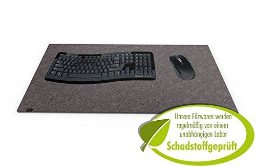 Designer Filz Schreibtischunterlage dunkelgrau in XXL (ca. 40x80cm groß). Originelle...