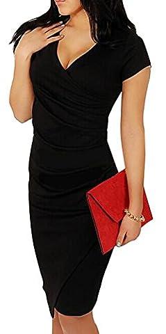 Bestfort Damen Kurzen Ärmel Elegant Kleid Etuikleid V-Ausschnitt Business Stretch Partykleid Reißverschluss Cocktail Figurbetontes Knielang Die Taille Im frühjahr und