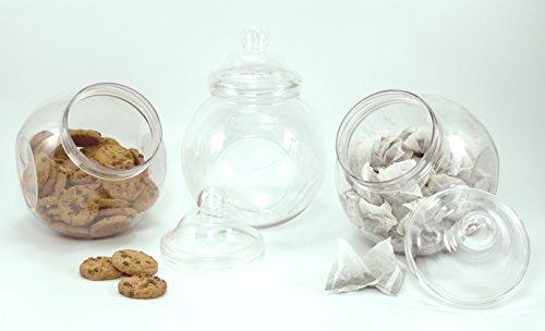 bocaux de cuisine. Lot de 3grandes Plastique Cookie Style bocaux avec couvercles à visser. pour biscuits, bonbons, pâtes, Dry Goods, thé et plus encore.