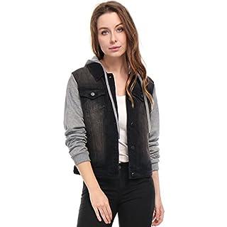 Allegra K Damen Langarm Patchwork Hoodie Jeansjacke Jacke mit Brusttasche, S (EU 38)/Schwarz