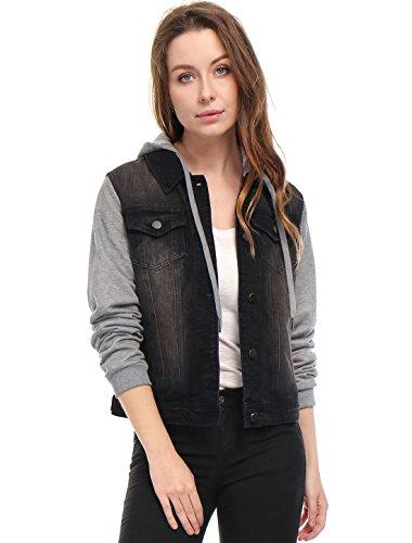 Allegra K Damen Langarm Patchwork Hoodie Jeansjacke Jacke mit Brusttasche, XS (EU 34)/Schwarz Lange Ärmel Denim Jacke