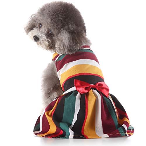Xmiral Cane Vestito Cucciolo Principessa Gonna del Pizzo Bowknot tutù Maglietta Abito Estivo Vestiti Abbigliamento Camicia Costumi Cani a Strisce Arcobaleno L Multicolore