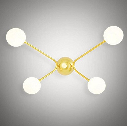 DENG Appliques Quatre têtes Boule de Verre LED Abat-Jour Moderne Éclairage Métal Intérieur Chambre Chevet escaliers