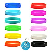 Carykon 12 Pcs Blank Silicone Wristbands Rubber Bracelets Adults Fashion Party Sports Accessories, Assorted 12 Colors