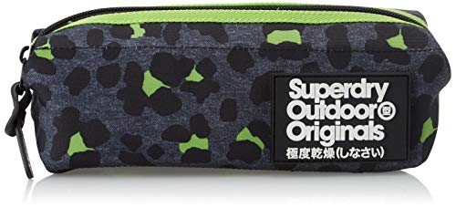 Superdry Damen Montana Fold Pencil Case Handgelenkstasche, Grün (Dark Marl Lime), 22x12x7 Centimeters